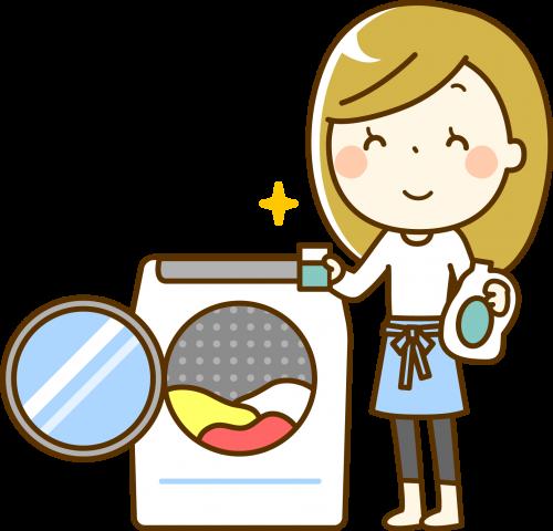 洗濯洗剤を使う主婦