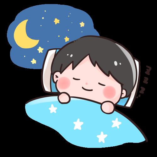 布団で眠る男の子